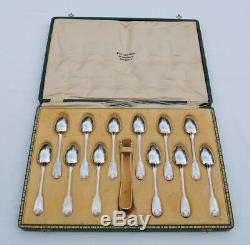12 CUILLERES A CAFE & PINCE A SUCRE ARGENT MASSIF FILET COQUILLE Sterling Silver
