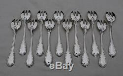 12 FOURCHETTES A HUITRE ARGENT MASSIF GODRONS COQUILLE Sterling Silver Oyster