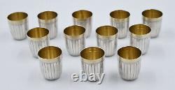 12 GOBELETS / verres à liqueurs EN ARGENT MASSIF POINCON MINERVE silver goblets