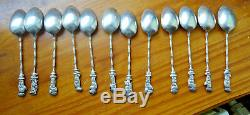 12 cuilleres spoon ASIA SILVER argent massif Wiet indochine china, 133 gr