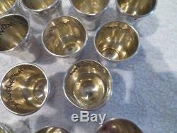 12 gobelets à liqueur argent 950 Minerve rocaille sterling silver vodka goblets