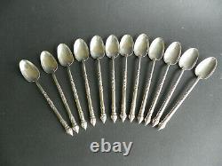 12 petites cuillères à café argent massif Indochine Asie Vietnam sterling silver
