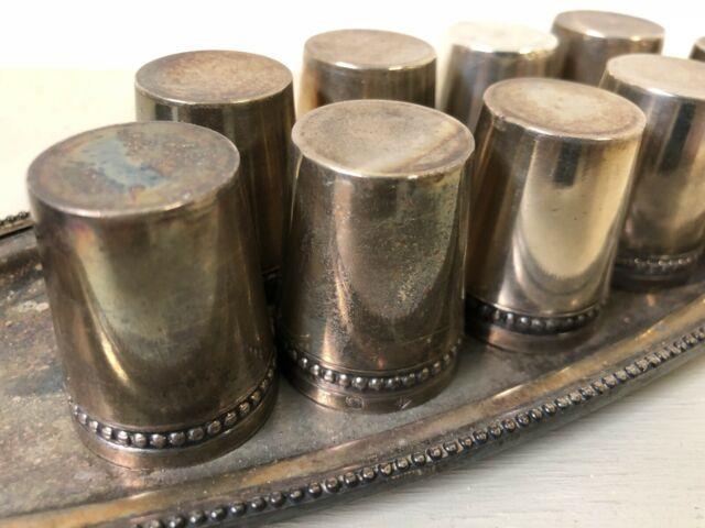 140gr Argent Massif Poinçon Minerve 9 Verres A Liqueur Solid Silver + Plateau