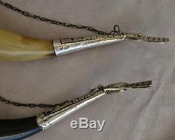 2 Cornes Argent Niellé Russe 875 Russian Silver Mounted Horn
