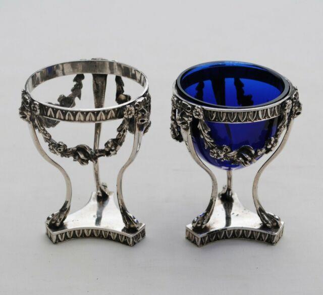 2 Salerons En Argent Massif Italie Roses & Mascarons Sterling Silver Sat Cellar