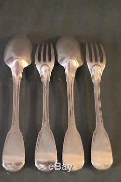 2 fourchettes 2 cuillères argent massif 18e poinçons fermiers généraux silver