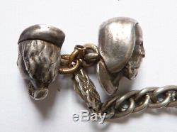 2 statuette breloque tête homme + Chaine de montre gousset ARGENT silver chain