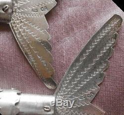 3 poissons articulés argent massif Sterling silver 925 & cabochons à restaurer