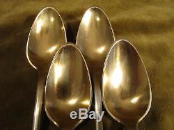 4 cuillères à café argent vermeil XVIIIème (silver coffee spoons) 70g uniplat