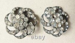 5 boutons argent massif et strass dans écrin 19e siècle silver buttons
