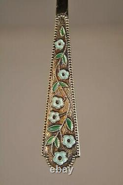 6 Cuilleres Argent Massif Vermeil Russe Solid Silver Gilt Enameled Russian Spoon