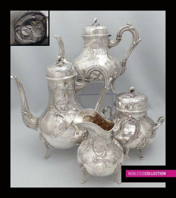 Amazing Antique 1910s French All Sterling Silver Teapot Coffee Pot Set 4pc 2234g