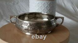 ANCIENNE COUPE ARGENT MASSIF XIXe INDO PERSE PERSIAN STERLING SILVER BOWL KADJAR