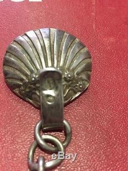 ANCIEN BOUTON DE CAPE EN ARGENT MASSIF SILVER 19e COQUILLE SAINT JACQUES