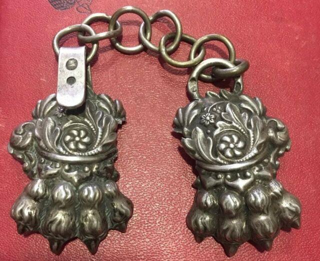 Ancien Bouton De Cape En Argent Massif Silver Silber PoinÇon 19e Patte De Lion