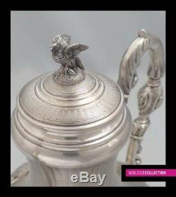 ANTIQUE 1850s FRENCH STERLING SILVER TEAPOT Napoleon III Cafetière Argent Massif