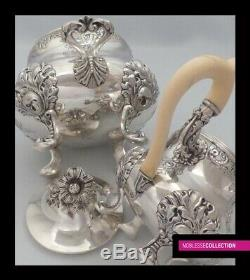ANTIQUE 1890s FRENCH STERLING SILVER TEA COFFEE POT SUGAR BOWL CREAMER SET 2.2Kg