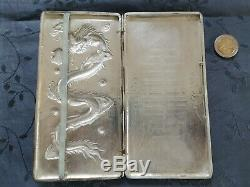 ARGENT MASSIF CHINESE EXPORT SILVER BOX DRAGON CHINE GRAND ETUI CIGARETTES 221g