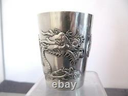ARGENT MASSIF CHINESE EXPORT SILVER TIMBALE CHINE DRAGON 146g