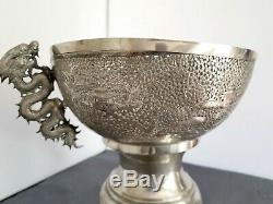 ARGENT MASSIF GRANDE COUPE CHINE DRAGON CHINESE EXPORT SILVER BOWL 1733g