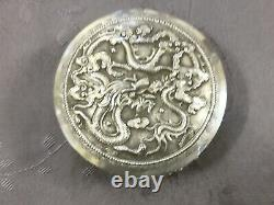 ARGENT MASSIF INDOCHINE BOITE A DECOR DE DRAGONS 63g CHINESE EXPORT SILVER BOX