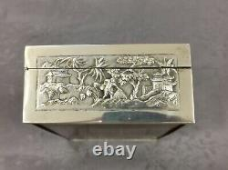 ARGENT MASSIF INDOCHINE GRAND COFFRET CHINESE EXPORT SILVER BOX 494g