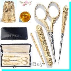 ARGENT VERMEIL or Ancien nécessaire de couture Antique sewing silver set Ciseaux