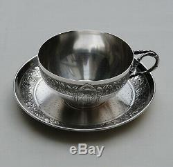ARMOIRIES TASSE EN ARGENT MASSIF ART NOUVEAU FLEUR Sterling Silver Cup & Saucer
