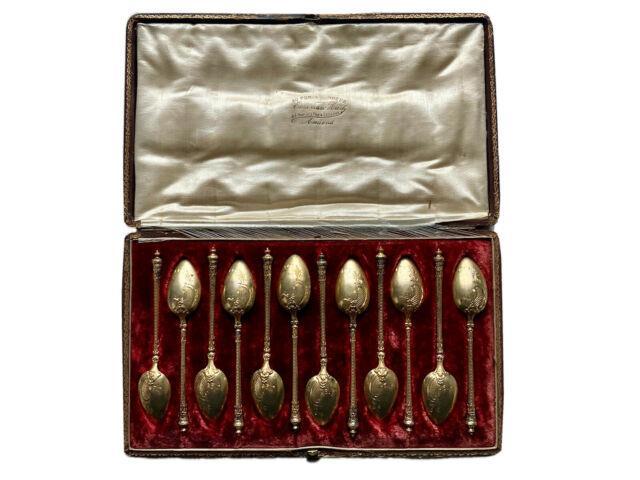 A. Calle Douze Cuillères Moka Argent Massif Vermeil Xixème Antique Silver Spoons
