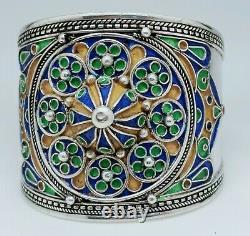 Ancien Bracelet Jonc Manchette Berbère Émail Coloré Argent Old Silver Strap