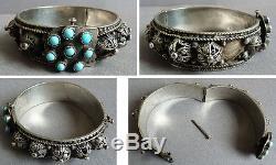 Ancien Bracelet ethnique en argent massif silver colonial