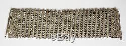 Ancien Bracelet manchette en argent massif filigrane silver bracelet 65 gr