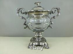 Ancien DRAGEOIR CONFITURIER argent massif et cristal XIXe sterling silver