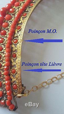 Ancien Diadème Corail Vermeil Circa 1850 Antique Diadem Tiara Silver Gilded