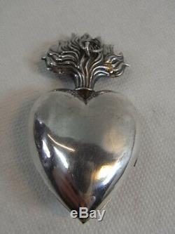 Ancien Gros Coeur De Marie Reliquaire Ex-voto Argent Massif Reliquary Silver