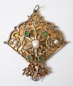 Ancien Pendentif argent massif + perles + émeraude 18e siècle pendant silver