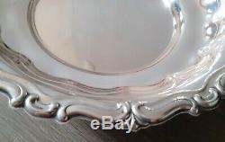 Ancien Plat Creux Rond Argent Massif 800 Poinçon Contour Gravé Old Silver