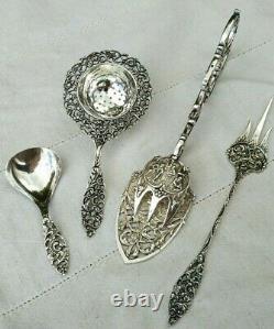 Ancien Service A Thé & Pince A Patisserie Argent Massif Pays Bas Dutch Silver Te