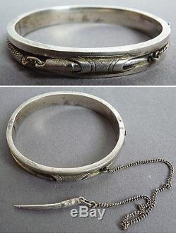 Ancien bracelet de métier en argent massif 19e siècle silver orfèvre LP