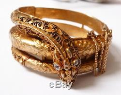 Ancien bracelet serpent en vermeil argent massif snake silver