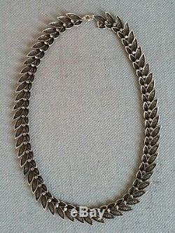 Ancien collier ras de cou argent massif 925 feuilles filigranes necklace silver
