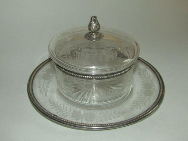Ancien Confiturier Cristal & Argent Massif époque Xix Antique Solid Silver