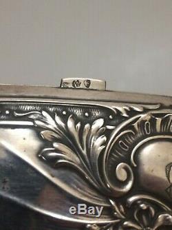 Ancien étui boite a cigarettes en argent allemand case german silver art nouveau