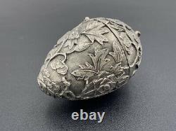 Ancien nécessaire à couture forme uf argent massif Antique silver sewing egg