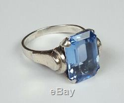 Ancienne Bague Argent Massif 925 Ambre Taille 56 Antique Sterling Silver Ring