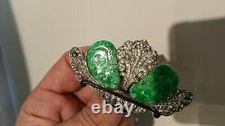 Ancienne Broche En Argent Et Jades Sculpté/Antique Chinese Jade Silver Brooch