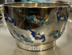 Ancienne Coupe Bol Argent Massif Emaille Origine Chine Asie Chinese Silver Solid