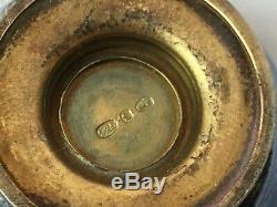 Ancienne Paire Saleron Saliere Poivriere Argent Massif 925 Emaille Salt Silver