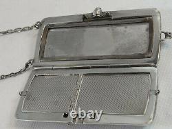 Ancienne Rare Minaudiere Poudrier Sac Argent Massif Guilloche Powder Box Silver