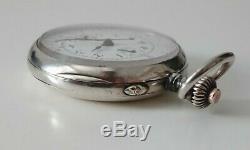 Ancienne montre gousset chronographe valjoux antique solid silver pocket watch